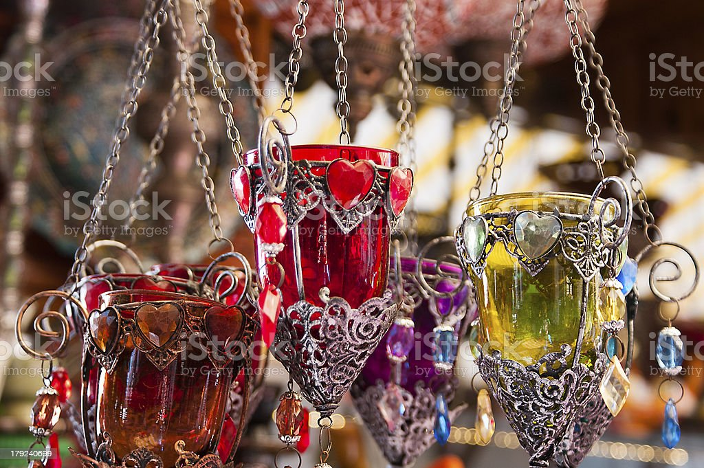 Turkish candle holders in a bazaar royalty-free stock photo