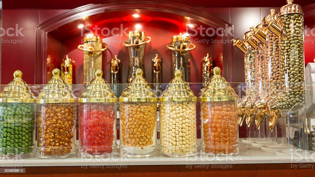 Turkish Candy store stock photo