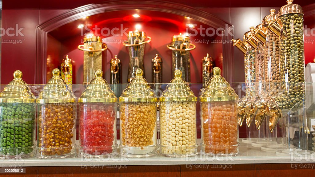 Turkish Candy store stock photo