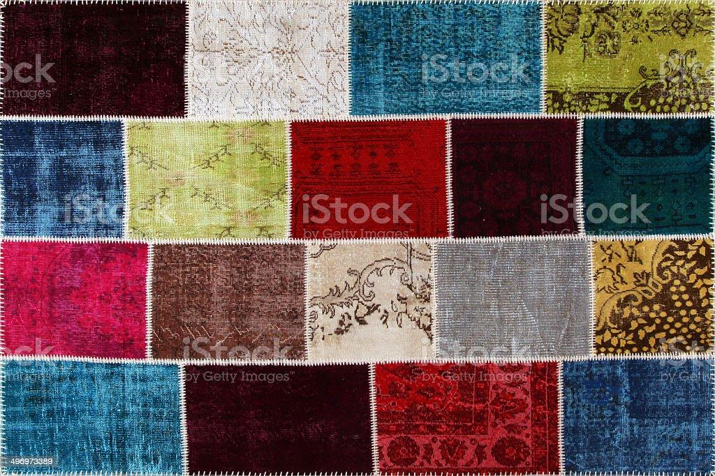 Turkish carpet patch work stock photo