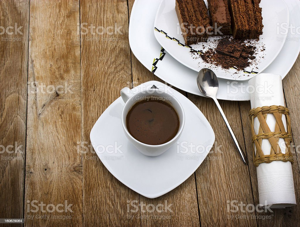 Turkish coffee and chocolate cake royalty-free stock photo