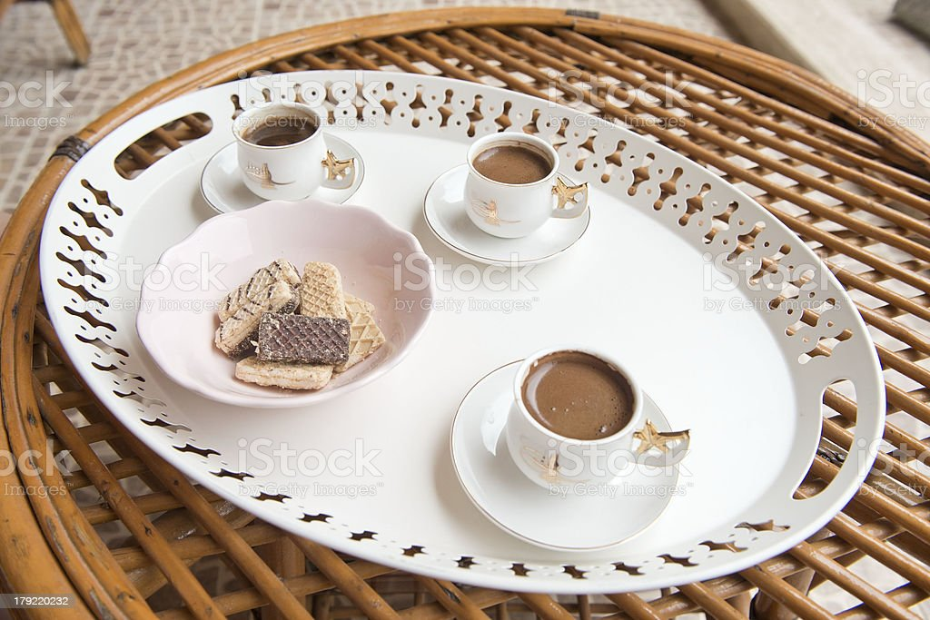 Turkish coffee and cookies for guests royalty-free stock photo
