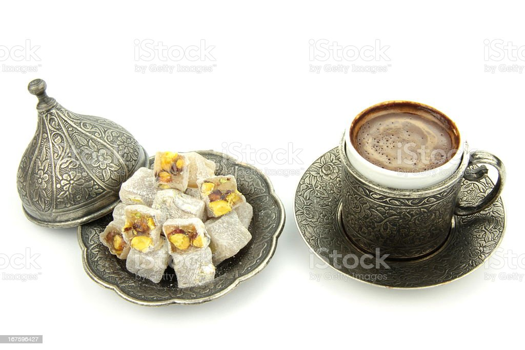Turkish coffee and  delight on white background stock photo