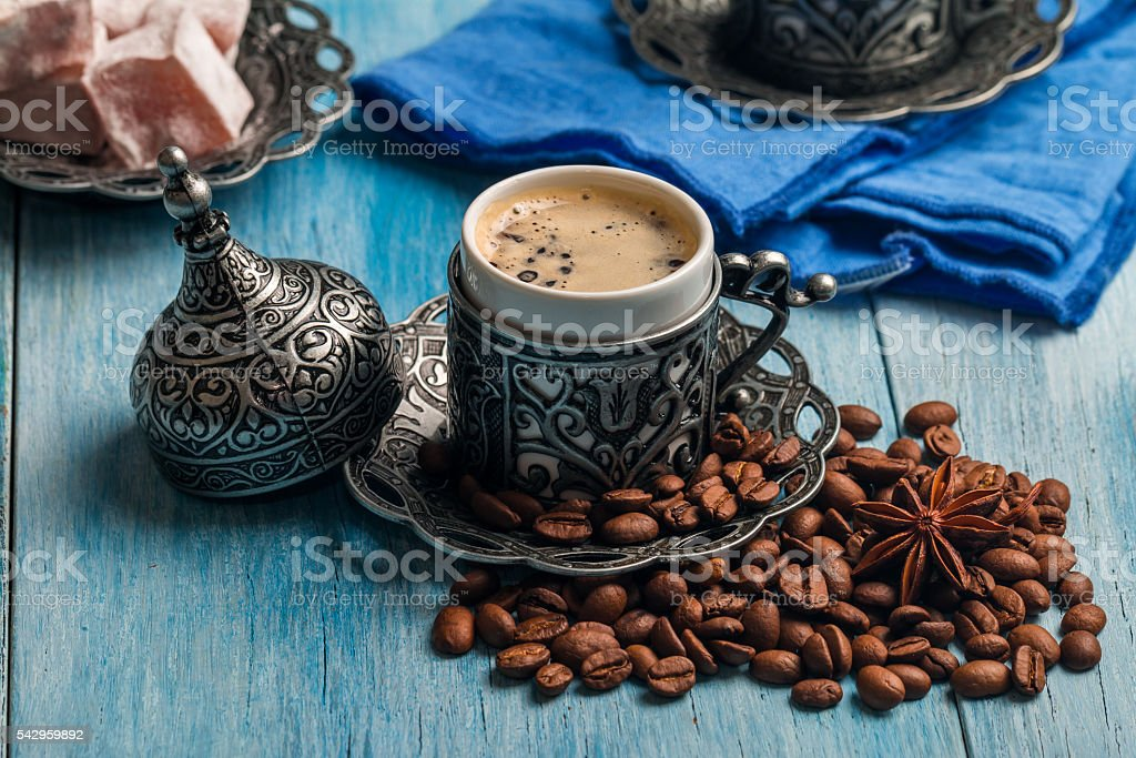Turkish coffee and  delight stock photo