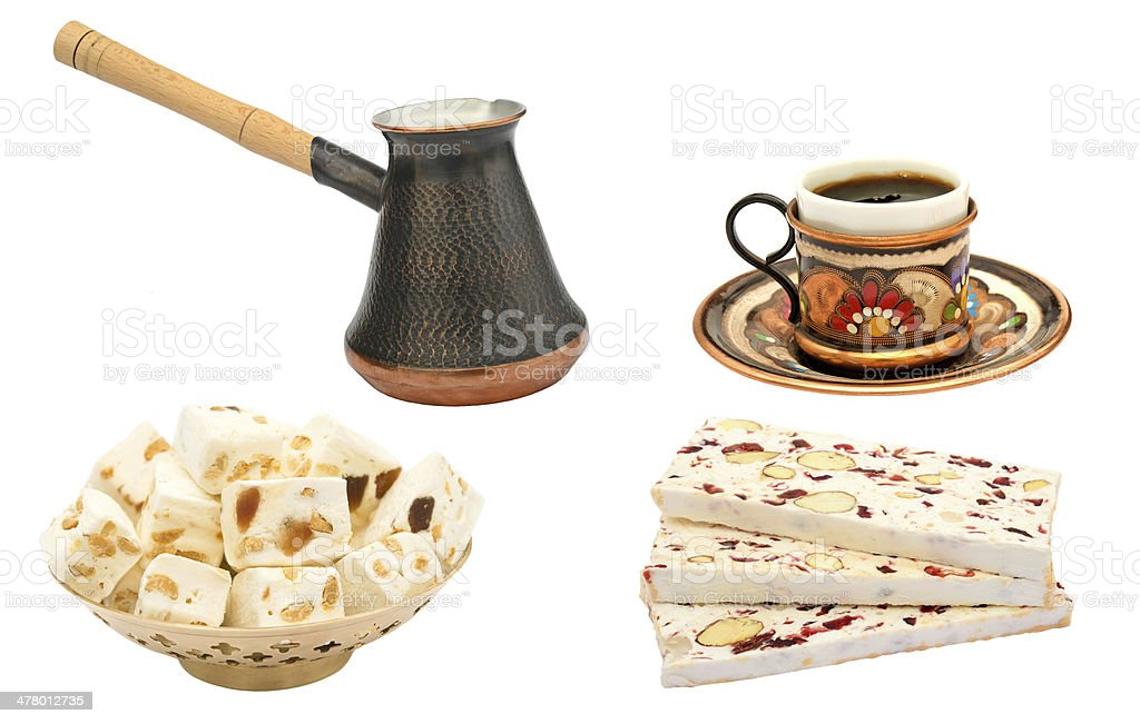 turkish coffee and nougat royalty-free stock photo
