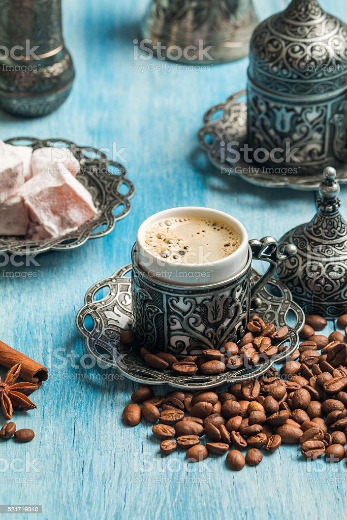 Turkish coffee and turkish delight stock photo