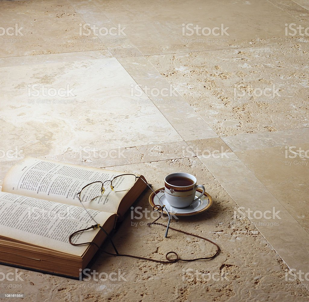 Turkish Coffee, Book with Reading Glasses on Marble Floor stock photo