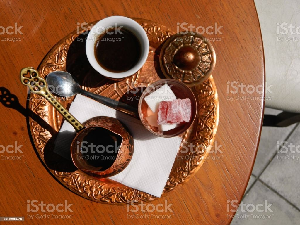 Turkish coffee experience stock photo