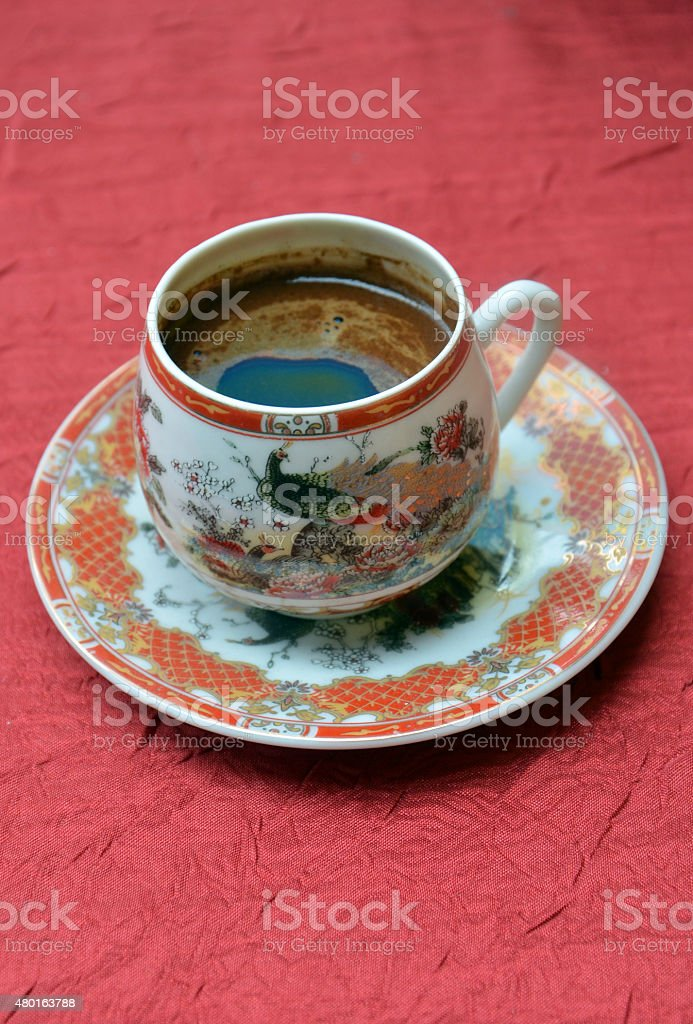 Turkish coffee in a chinesse pot stock photo