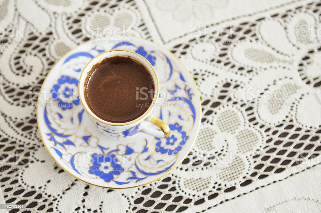Turkish Coffee on Lace Tablecloth royalty-free stock photo