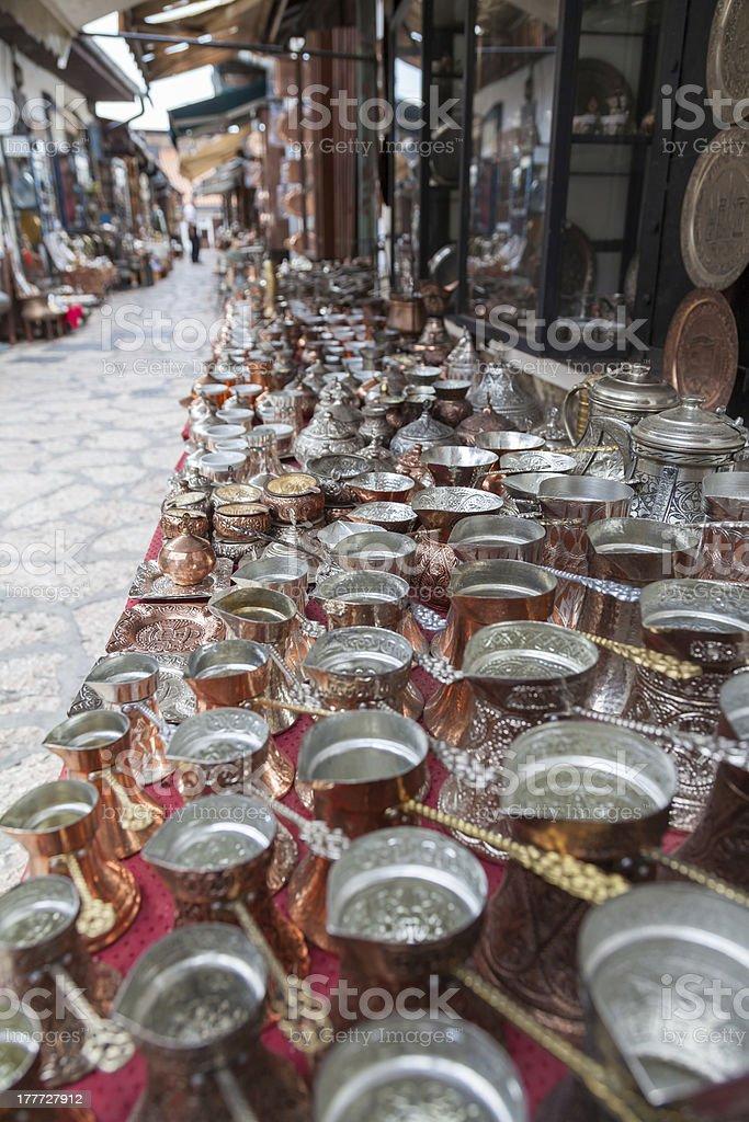 Turkish coffee pots stock photo