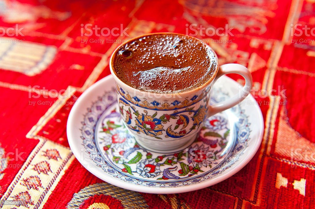 Turkish Coffee Served in a traditional cup stock photo