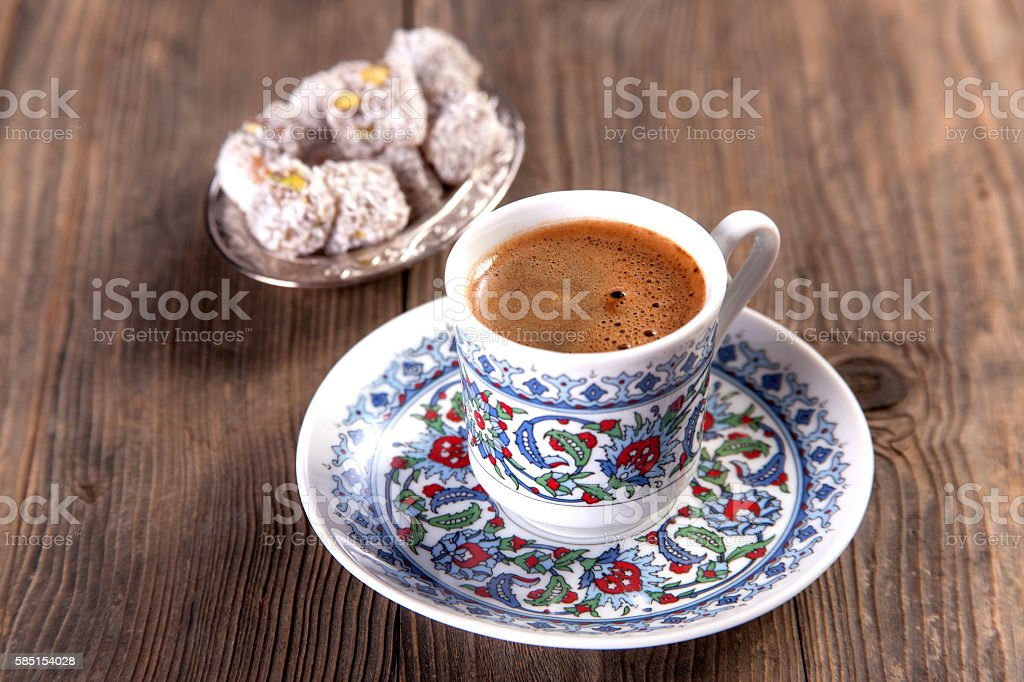 Turkish coffee serving stock photo