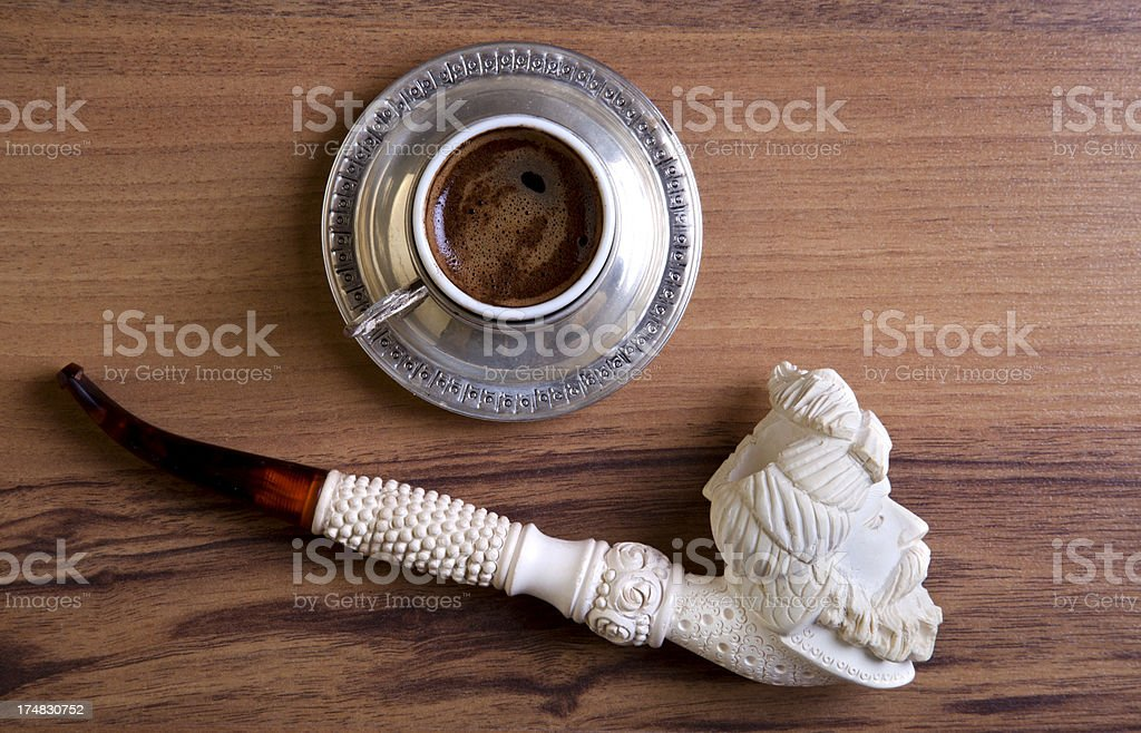 Turkish coffee with meerschaum pipe royalty-free stock photo