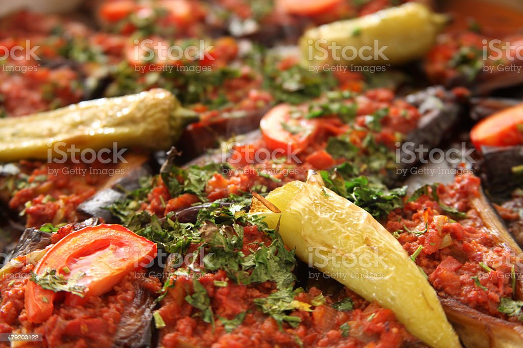 Turkish cuisine, Karniyarik stock photo
