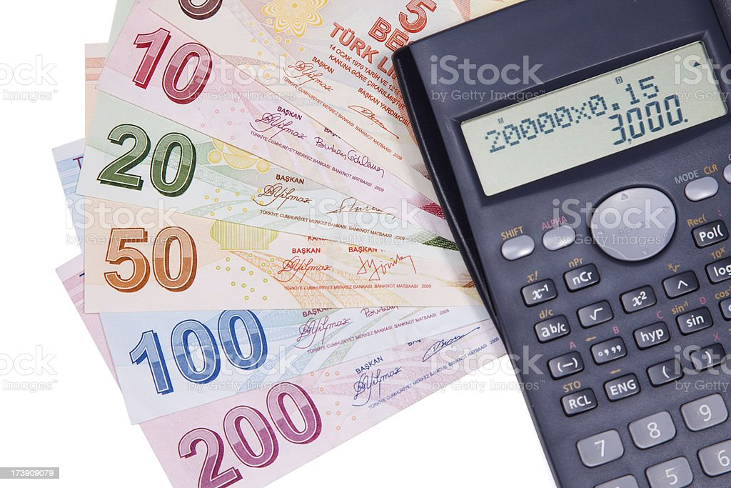 Turkish currency and scientific calculator stock photo