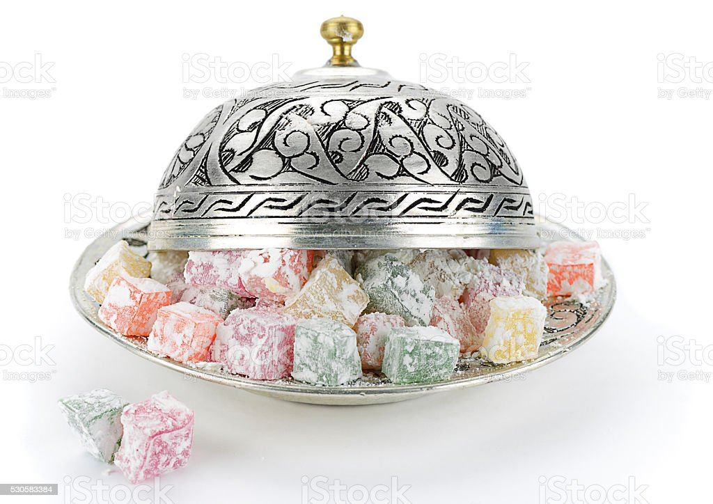 Turkish Delight in Vintage Plate stock photo