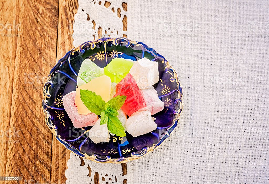 Turkish Delight on a Blue Plate stock photo