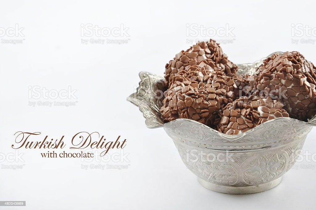 Turkish Delight with chocolate stock photo