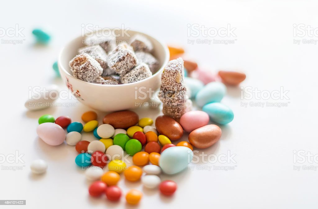 Turkish delight with colorful candies stock photo