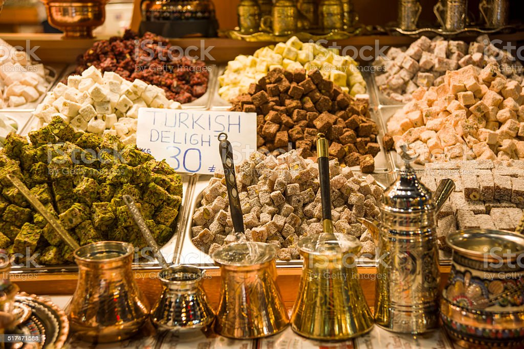 Turkish Delights and coffee pot stock photo