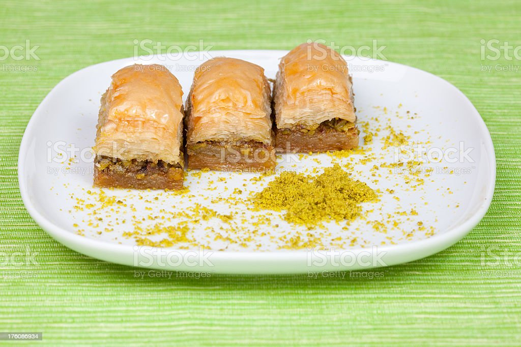 Turkish dessert  - Baklava with chopped pistachios royalty-free stock photo