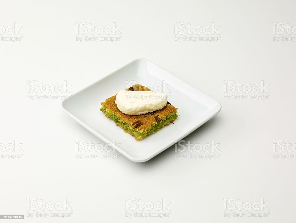 Turkish Dessert Kadayif On White stock photo