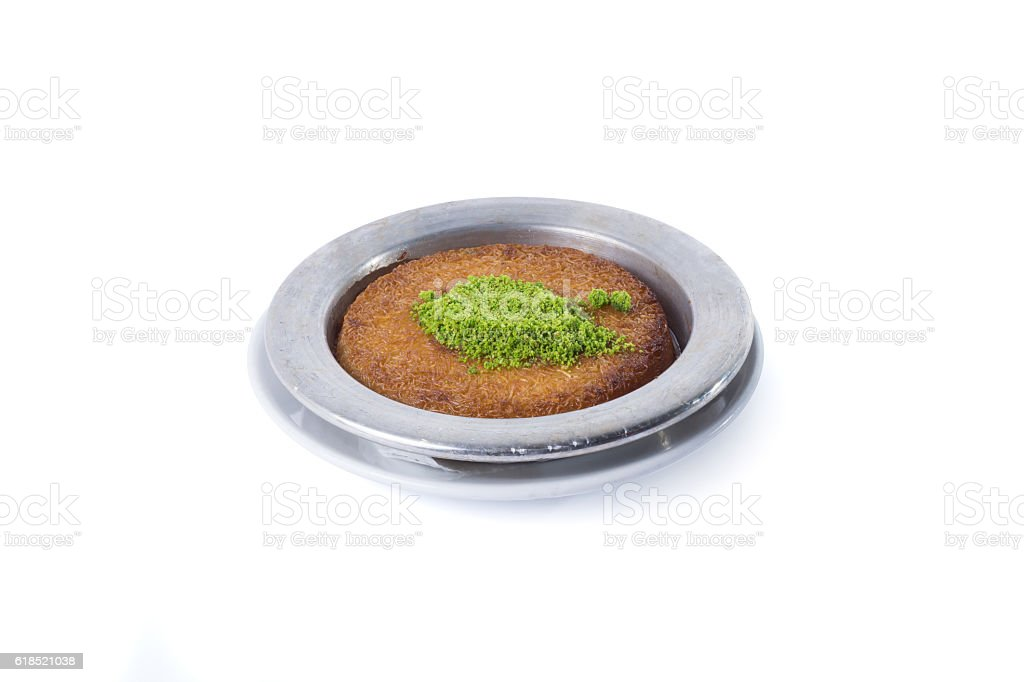 Turkish dessert kunefe with pistachio - Clipping path inside stock photo