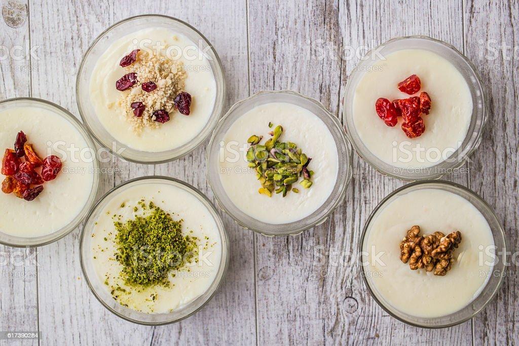 Turkish Dessert Muhallebi / Homemade Pudding. stock photo