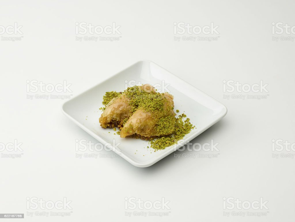 Turkish Dessert Sobiyet On White stock photo