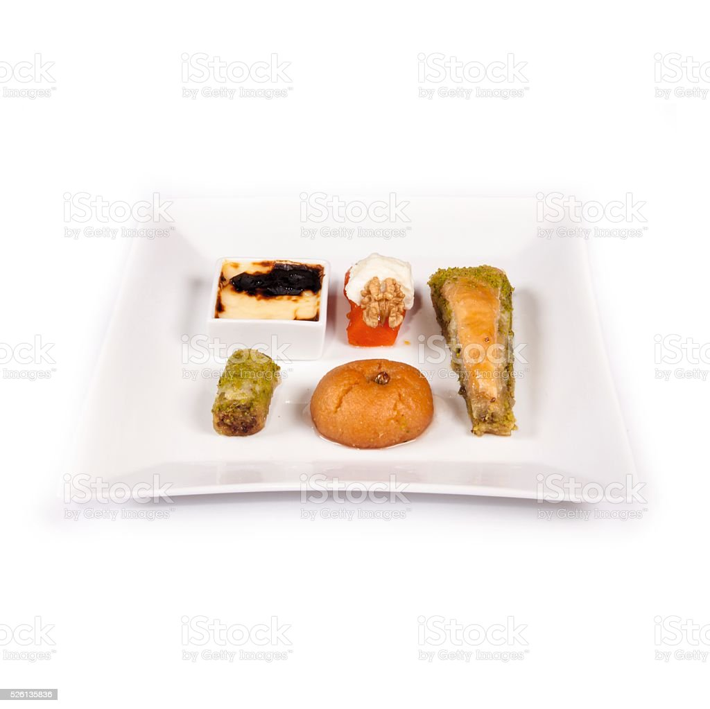 Turkish desserts in plate stock photo