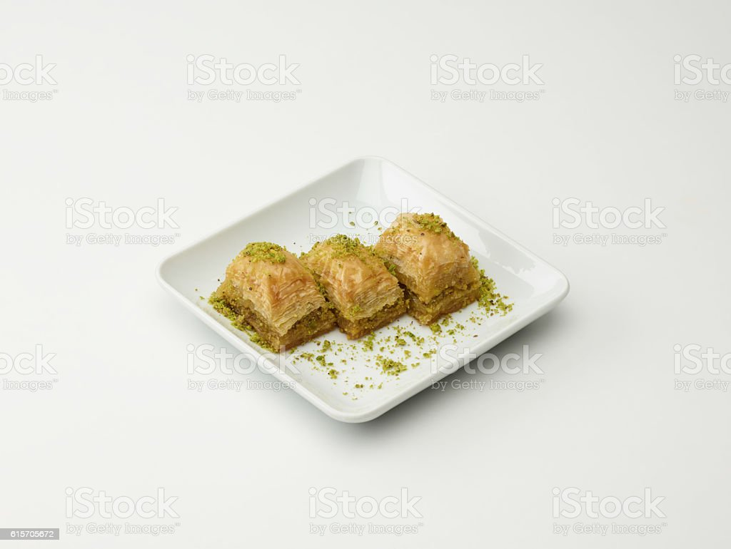 Turkish Desset Baklava On White stock photo
