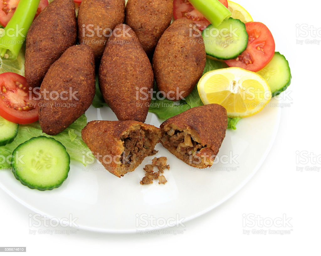 Turkish dish stuffed meatball with bulgur. ( icli kofte ) stock photo
