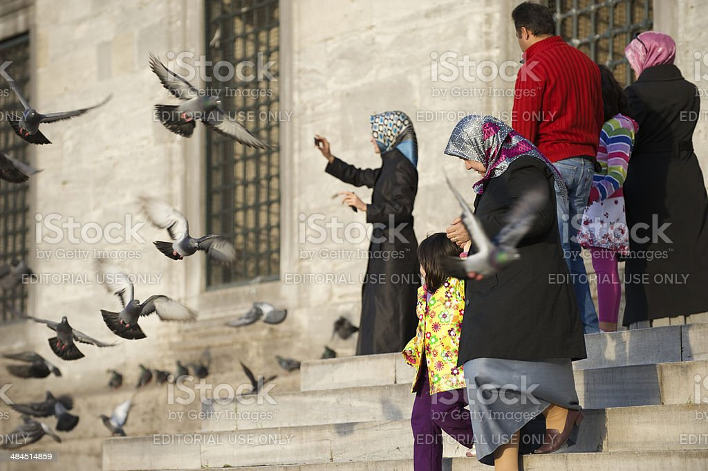 Turkish Families Visiting Istanbul Mosque royalty-free stock photo