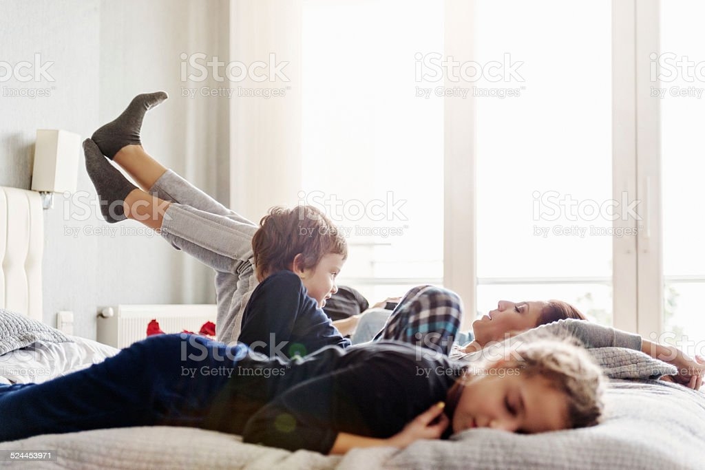 Turkish family on a weekend morning stock photo