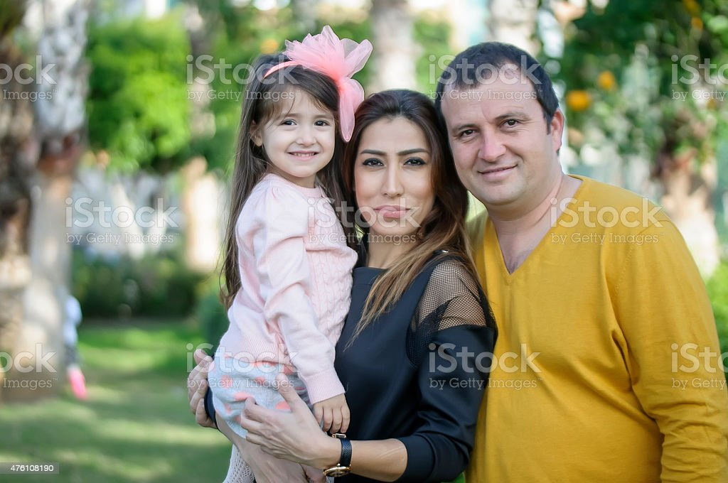 Turkish family on weekend stock photo