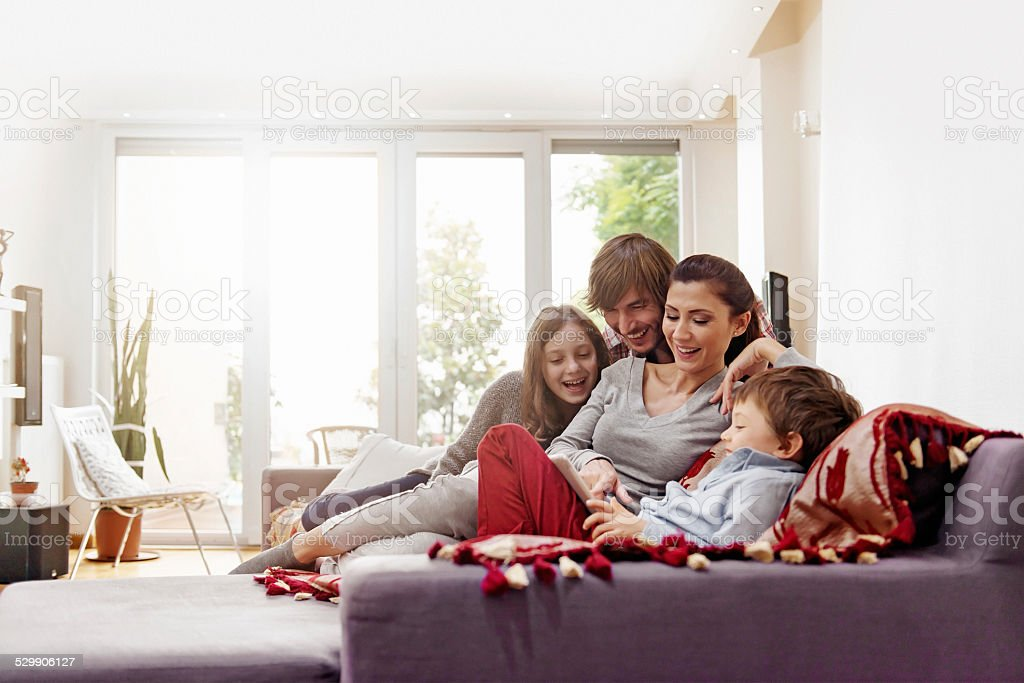Turkish family taking selfie stock photo