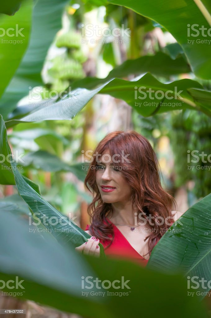 Turkish fashion model in banana garden stock photo