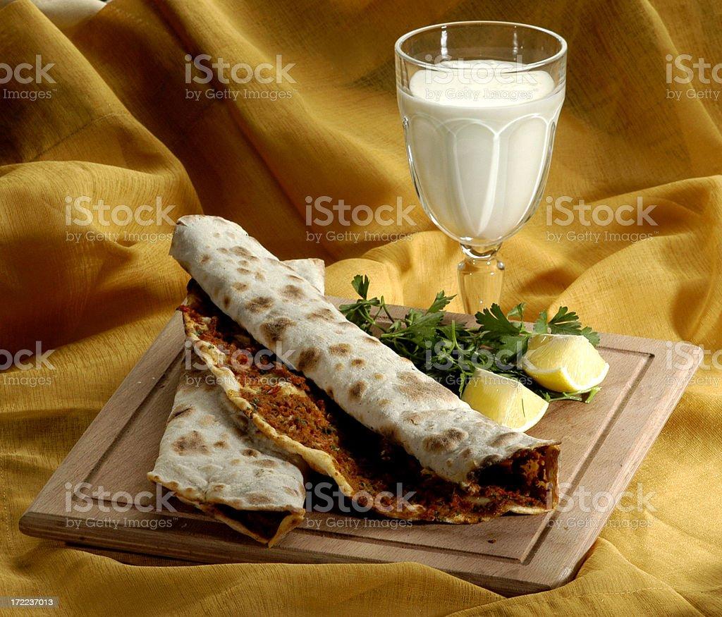 Turkish fast food, lahmacun stock photo