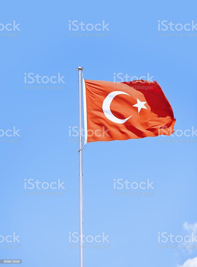 Turkish flag against sky background stock photo