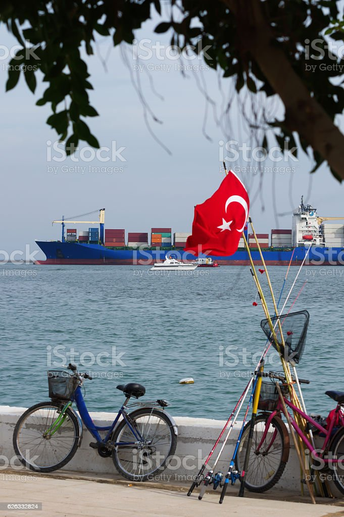 Turkish flag and shipping stock photo