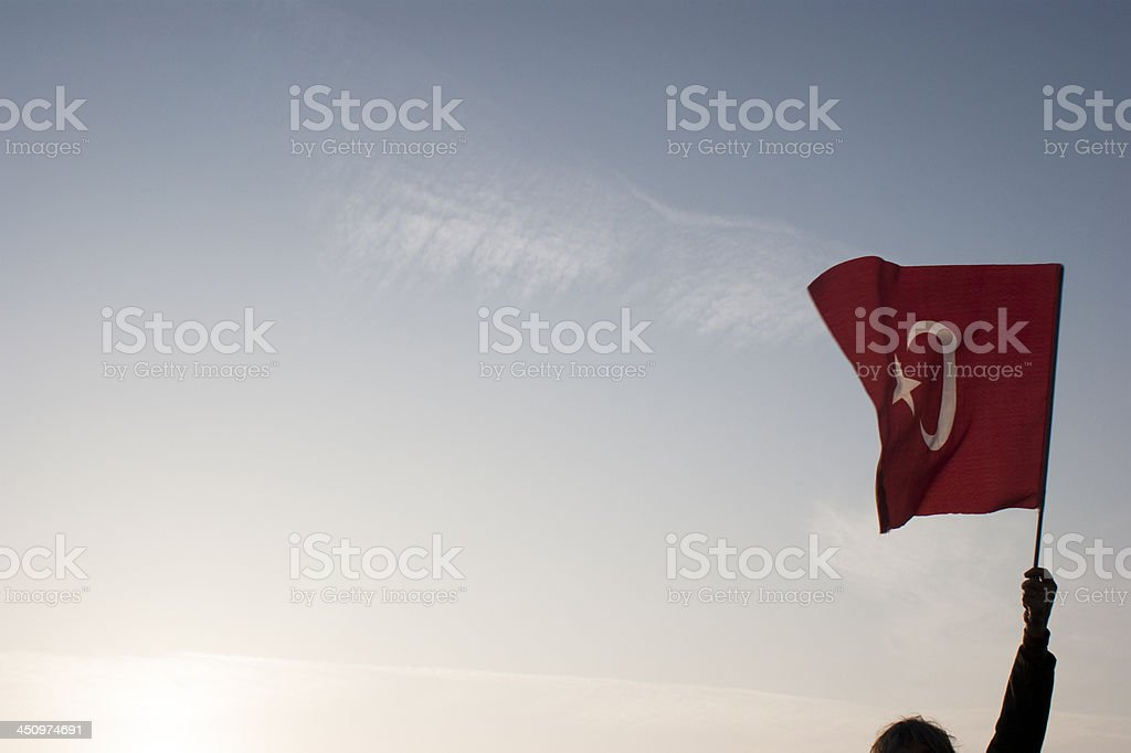 Turkish flag floating stock photo