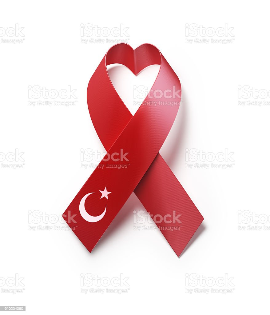 Turkish Flag Forming Heart  Shape : AIDS Awareness Concept stock photo