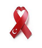 Turkish Flag Forming Heart  Shape : AIDS Awareness Concept