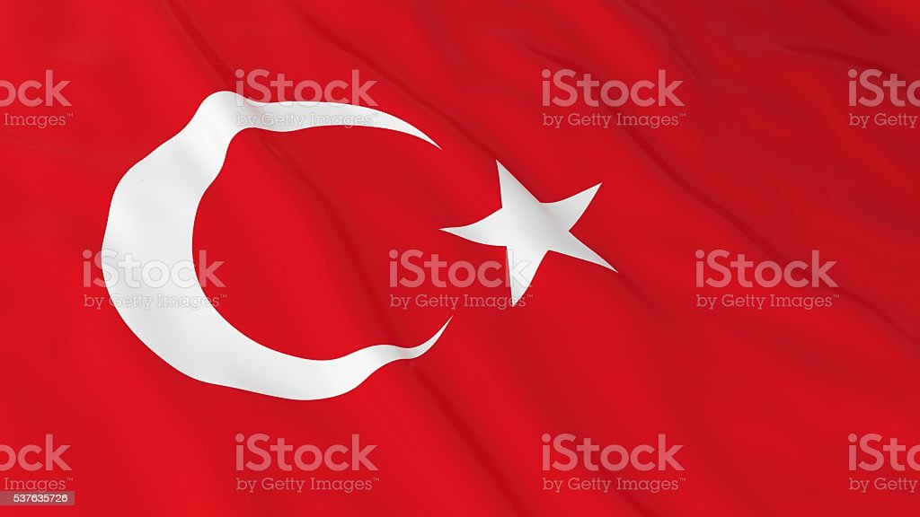 Turkish Flag HD Background - Flag of Turkey 3D Illustration stock photo