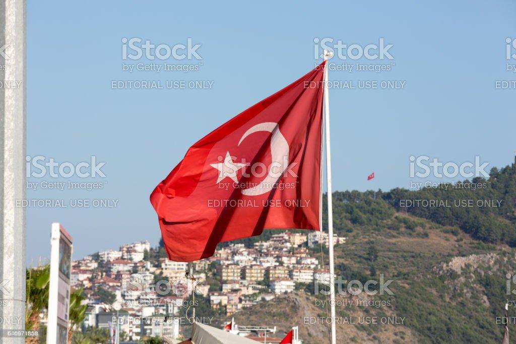 Turkish flag in Alanya - Cleopatra beach. Turkey stock photo
