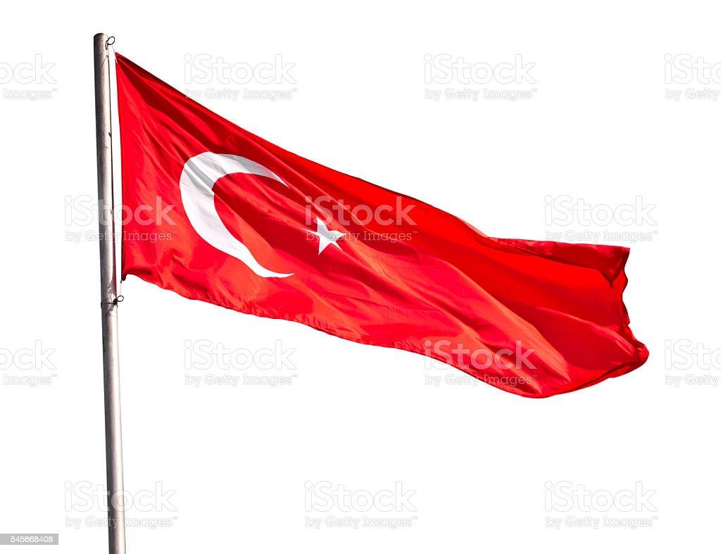 Turkish flag waving stock photo