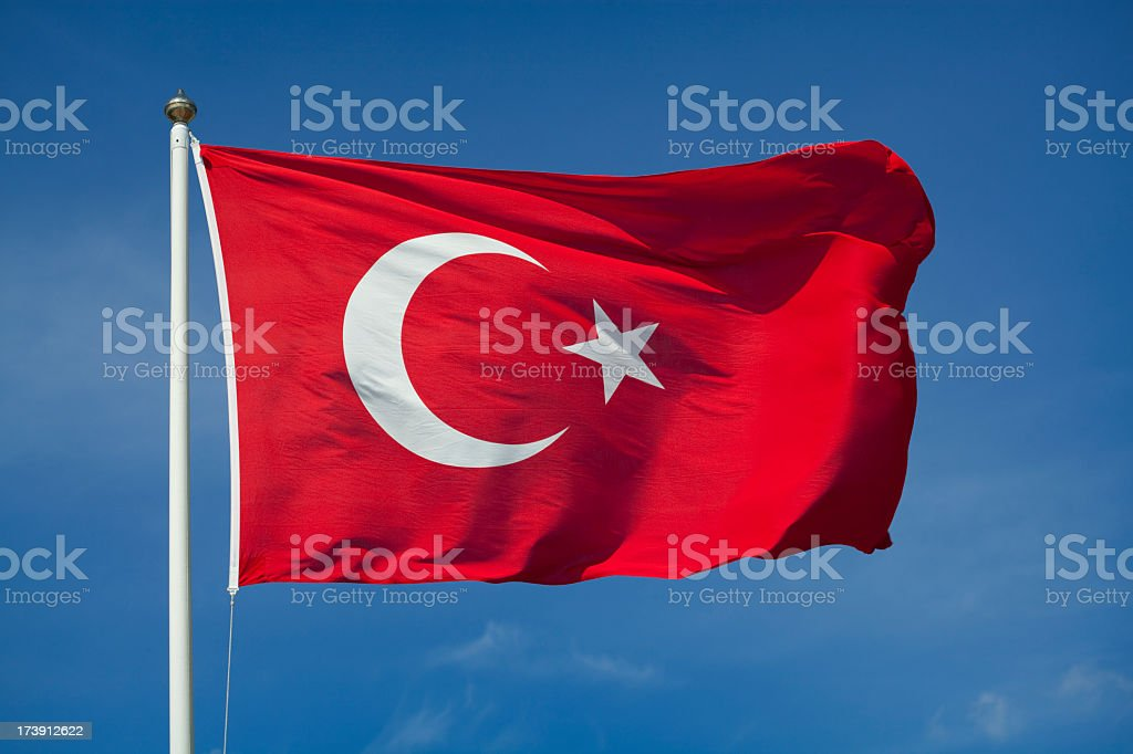 Turkish flag with red and white moon stock photo