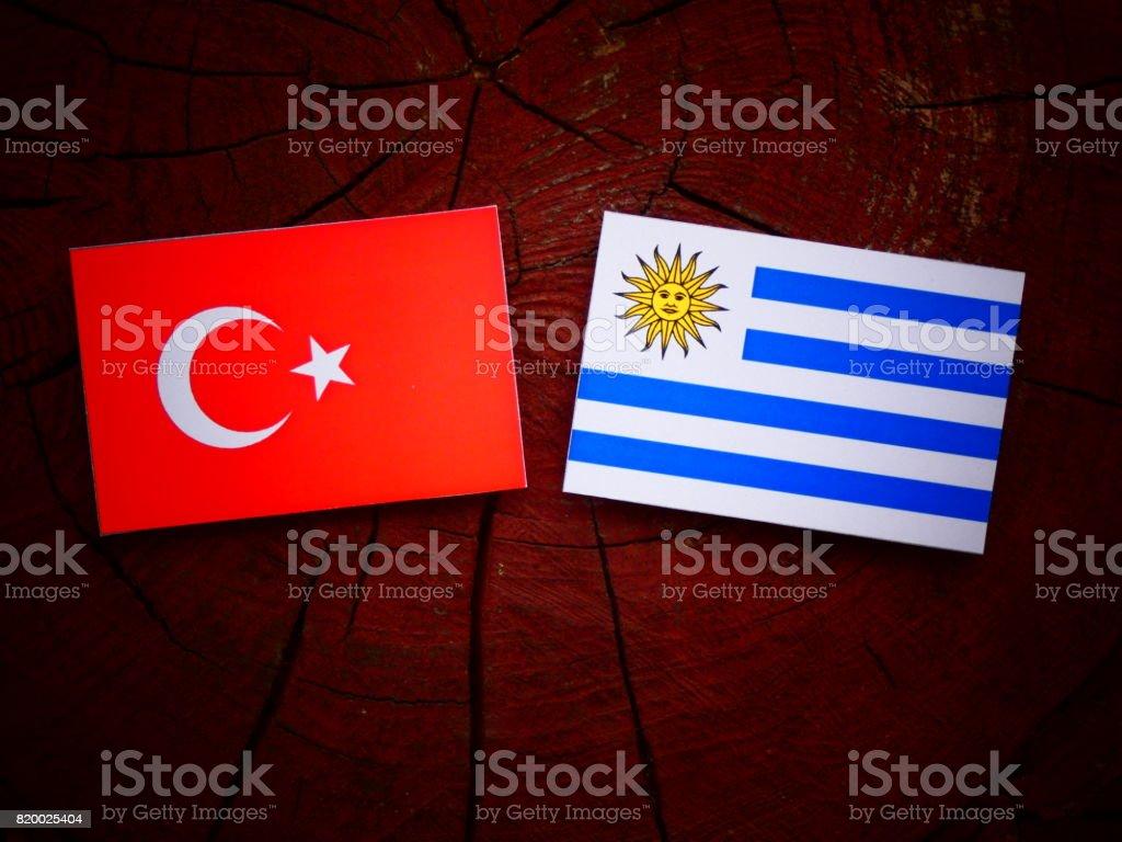 Turkish flag with Uruguaian flag on a tree stump isolated stock photo