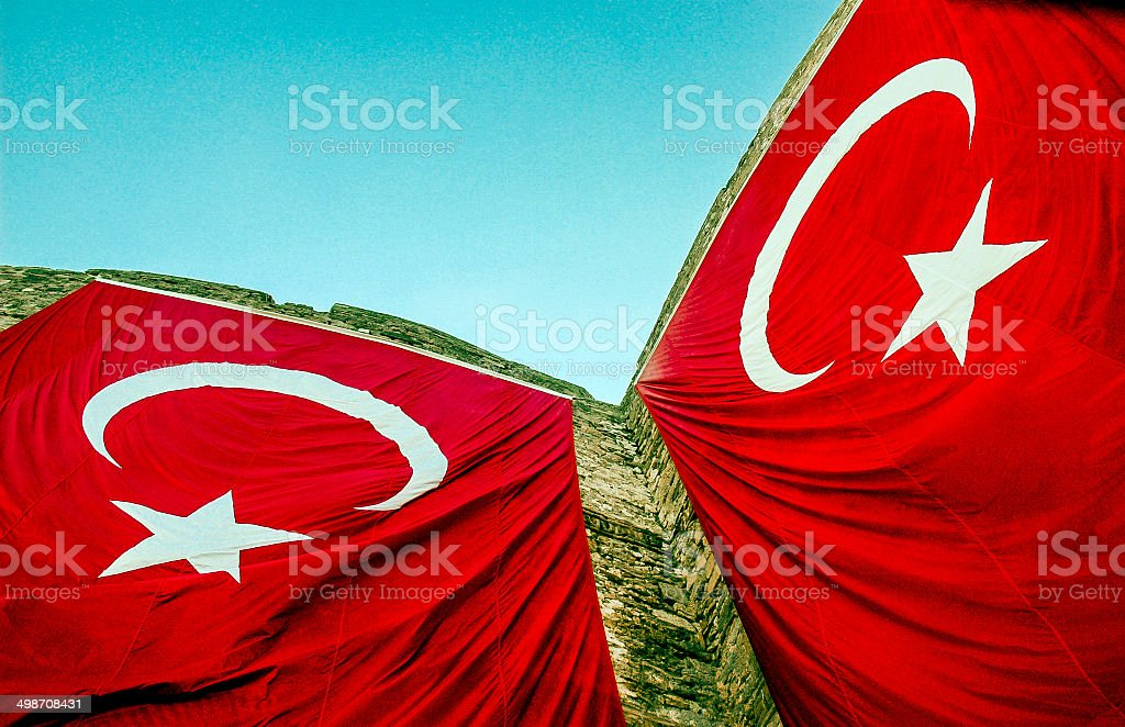 Turkish Flags royalty-free stock photo